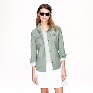 J. Crew Military Pocket Button Down Shirt in Sage